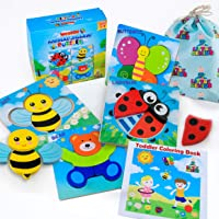 LITTLE GENIUS Wooden Animal Jigsaw Toddler Puzzles, Learning Toys for 1 2 3 4 Year Old Girls & Boys, Sensory, Bright Vibrant Colors, Montessori Eco Friendly Toys, Gift Box+Toddler Activity eBook