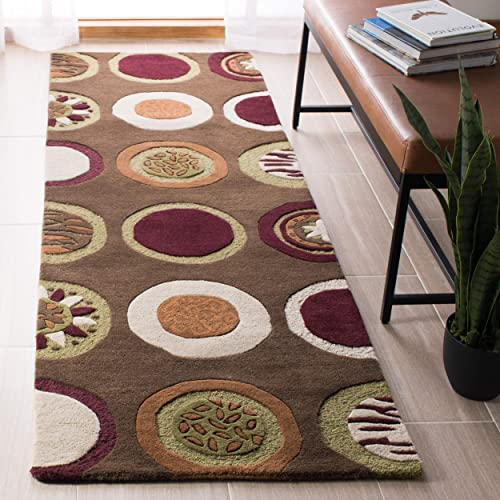 Safavieh Soho Collection SOH835A Handmade Brown and Multi Premium Wool Runner 2 6 x 10