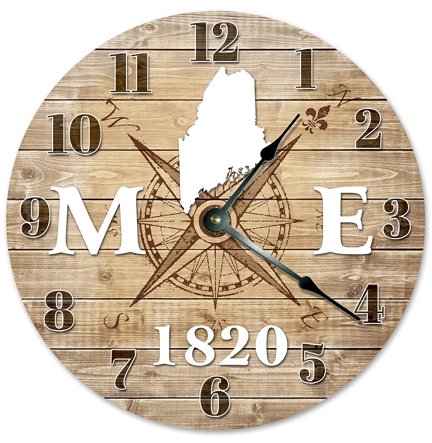 "MAINE CLOCK Established in 1820 Decorative Round Wall Clock Home Decor Large 10.5"" COMPASS MAP RUSTIC STATE CLOCK Printed Wood Image"