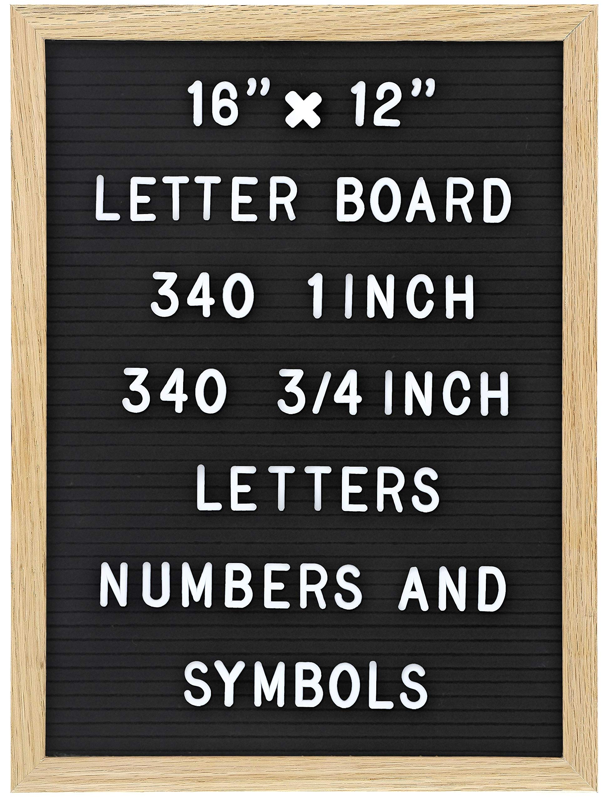 Felt Letter Board with 680 Letters, Numbers & Symbols 16 x 12 inch :: Changeable Letter Board for Quotes, Messages, Displays, Words & More :: Hangs Or Stands Alone:: Includes 2 Storage Bags (Black) by TRENDARTI
