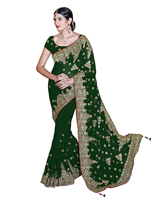 Review Sourbh Mirchi Fashion Women's Embroidered Bridal Wedding Saree (3439_with Color Option)