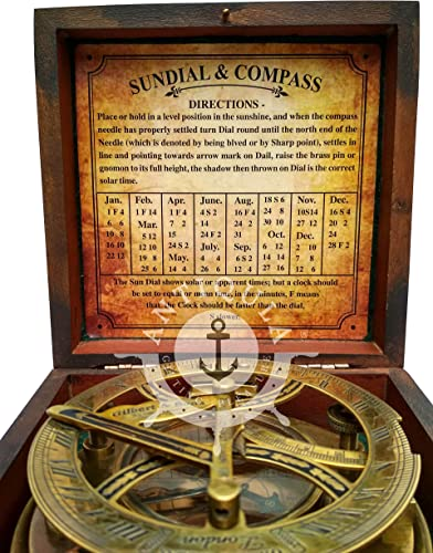 Antiqula Steampunk Antique Look Vintage Time Keeping Solar 5 Sundial Compass with Wooden Box and Chart