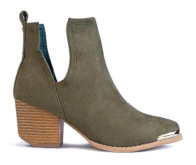 Amazon.com: MI IM - botas cortas con tacón con cortes ...
