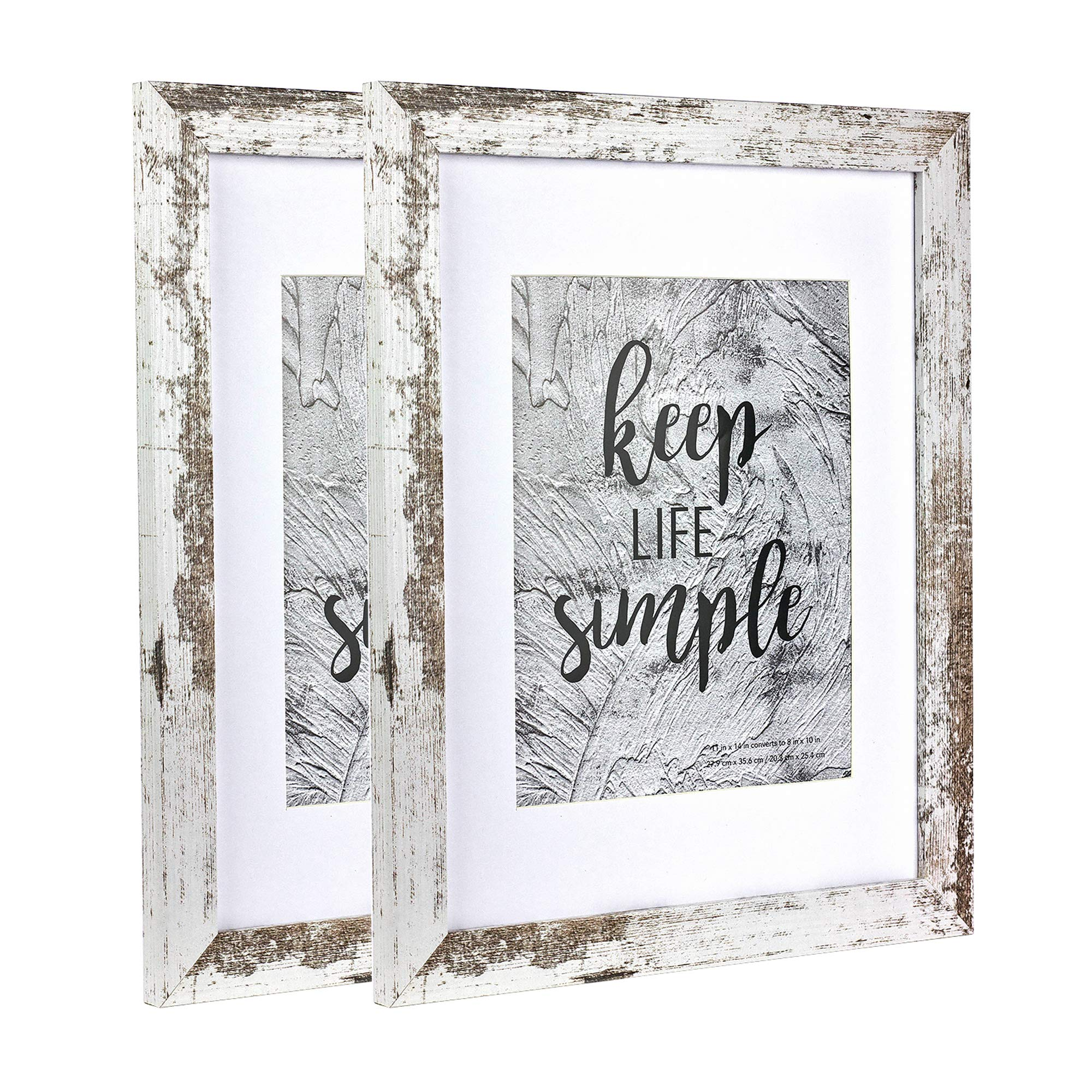 Home&Me 11x14 Picture Frame Rotten White 2 Pack - Made to Display Pictures 8x10 with Mat or 11x14 Without Mat - Wide Molding - Wall Mounting Material Included by Home&Me