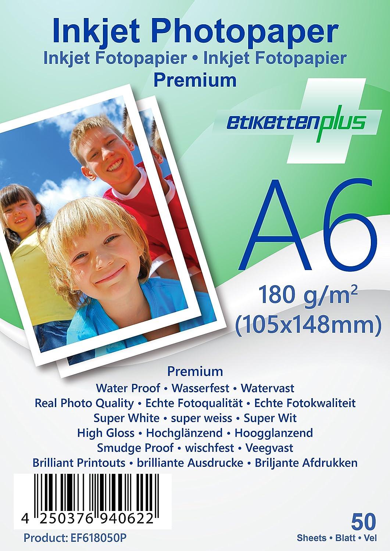 EtikettenPlus Ltd, 1000 Blatt, Premium Fotopapier, EF41801000P, A4 (210x297 mm) 180g qm hoch-glänzend (high-glossy), wasserfest, sofort wischfest für alle Tinten- und Fotodrucker B018NX3BSI | Berühmter Laden