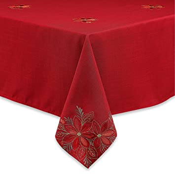 Incroyable Kori Poinsettia Christmas Holiday Tablecloth And Table Linens (60u0026quot; ...