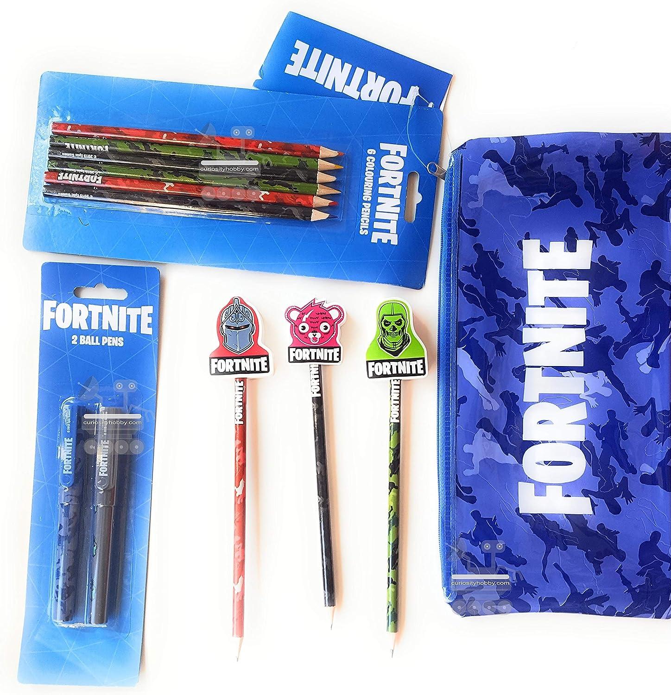 Fortnite - Juego de papelería para niños y 1 estuche grande, 6 lápices de colores Fortnite, 3 lápices con gomas de borrar Fortnite y 2 bolígrafos Fortnite Ball: Amazon.es: Oficina y papelería