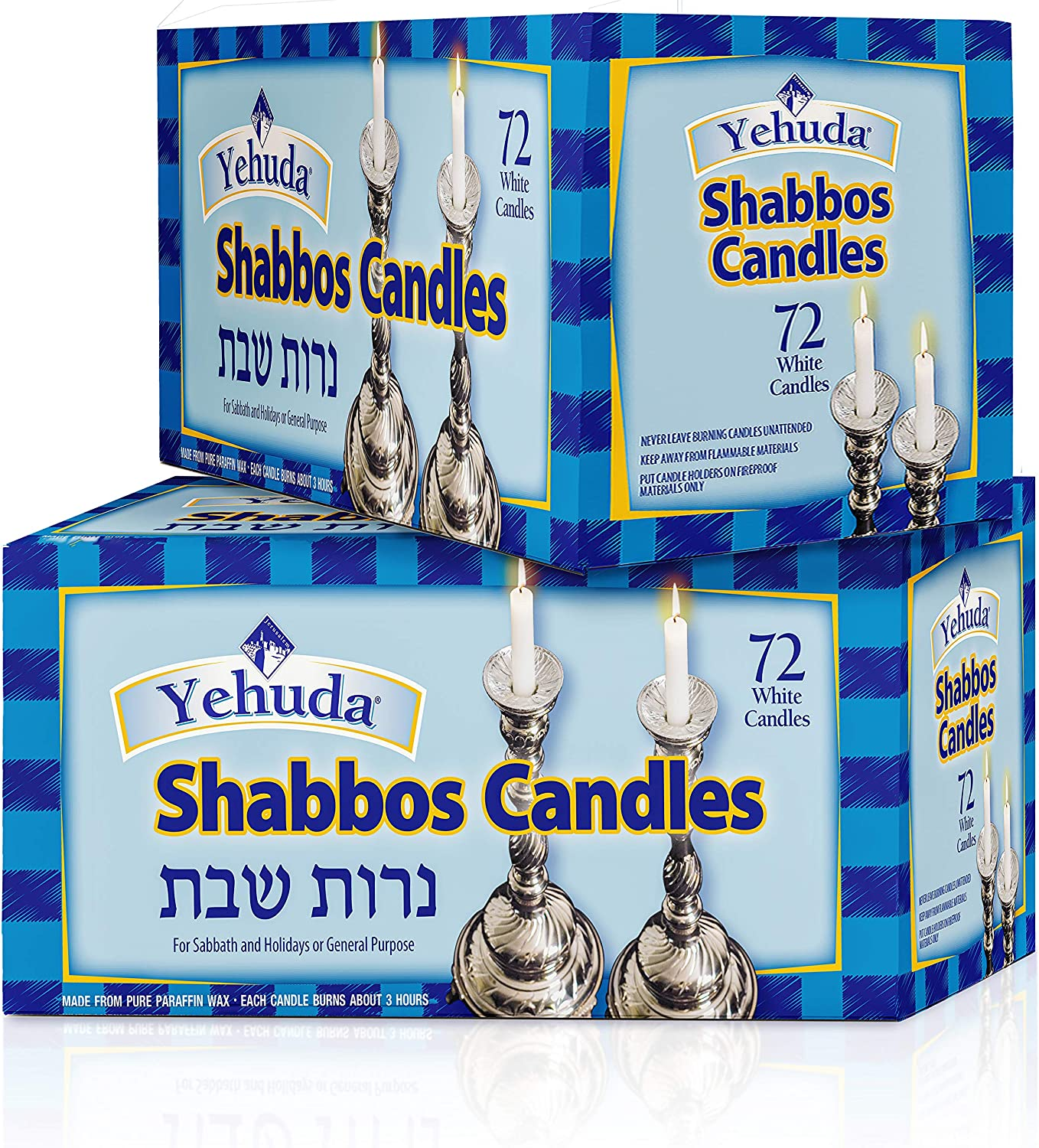 Yehuda 3 Hour White Shabbos Candles, 72 ct (2 Pack) Traditional Shabbat Candles