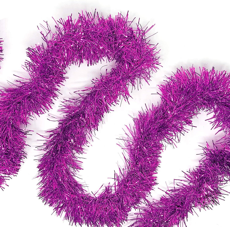 Allgala 50 Feet Christmas Foil Tinsel Garland Decoration for Holiday Tree Walll Rail Home Office Event-Fuchsia-XG93208