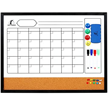 Amazon.com : Whiteboard Calendar 24 x 18 in with Wooden Frame ...