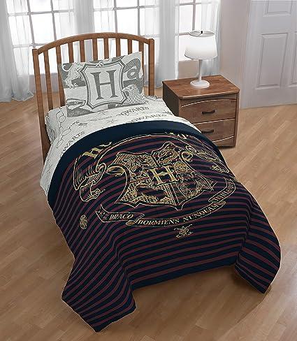 Warner Brothers Harry Potter Spellbound 4 Piece Twin Bed Set   Includes  Reversible Comforter U0026 Sheet