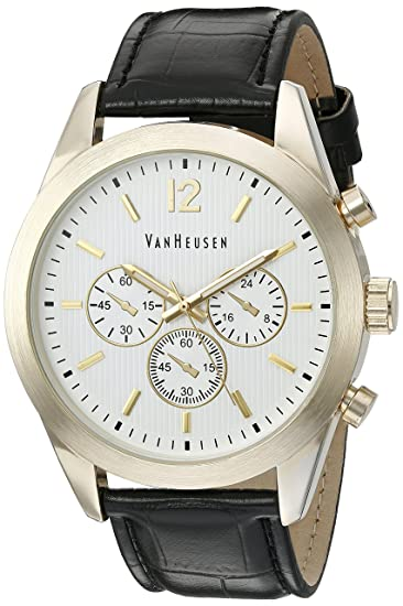 Amazon.com: Van Heusen Mens Quartz Metal Dress Watch, Color:Black (Model: VAN5028): Watches