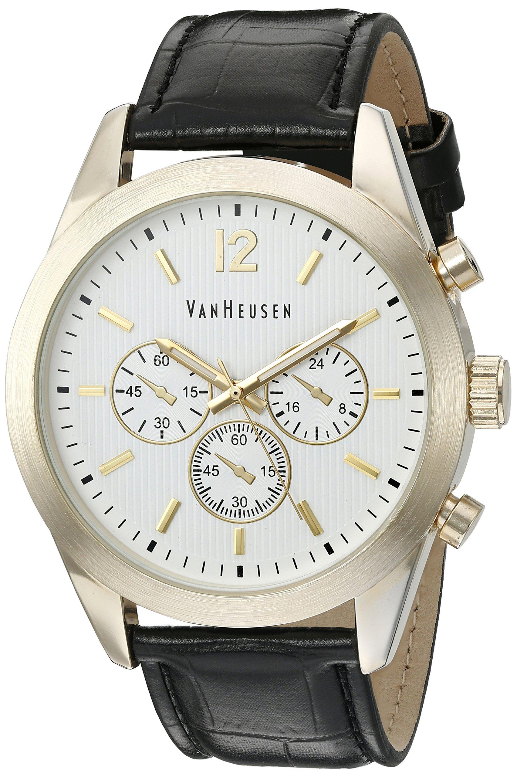 Van Heusen Men's Quartz Metal Dress Watch, Color:Black (Model: VAN5028)
