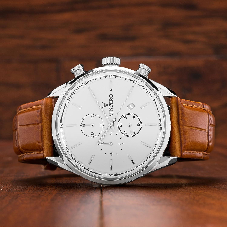 4f14a454f84 Montre bracelet de luxe Vincero Chrono S pour homme - Cadran bleu avec  bracelet en cuir noir - Montre Chronographe 43mm - Mouvement à quartz  japonais  ...