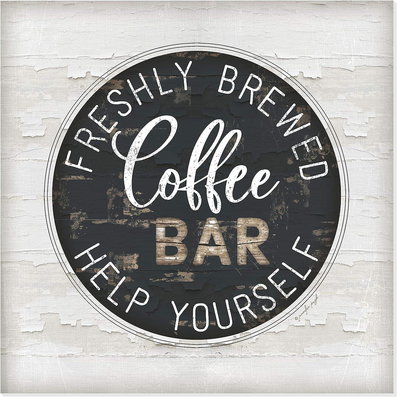 Freshly Brewed Coffee Bar Rustic Wall Sign 12x12