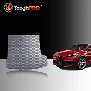 TOUGHPRO Cargo/Trunk Mat Accessories Compatible with Alfa Romeo Stelvio - with Subwoofer - All Weather - Heavy Duty - (Made in USA) - Gray Rubber - 2018, 2019, 2020