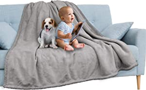 PAVILIA Waterproof Blanket Throw Light Grey | Waterproof Pet Blanket for Dog Couch Protection | Leak Proof Sherpa Fleece Blanket for Bed Sofa | Liquid Resistant Large Soft Plush Throw 60x80 Inches