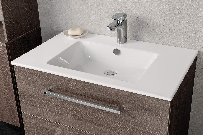 FACKELMANN Waschbecken KERA 810 / Waschtisch aus Keramik / Maße (B x H x T): ca. 81 x 16, 5 x 51 cm / Einbauwaschbecken / hochwertiges Becken fürs Badezimmer und WC / Farbe: Weiß / Breite: 81 cm 86390