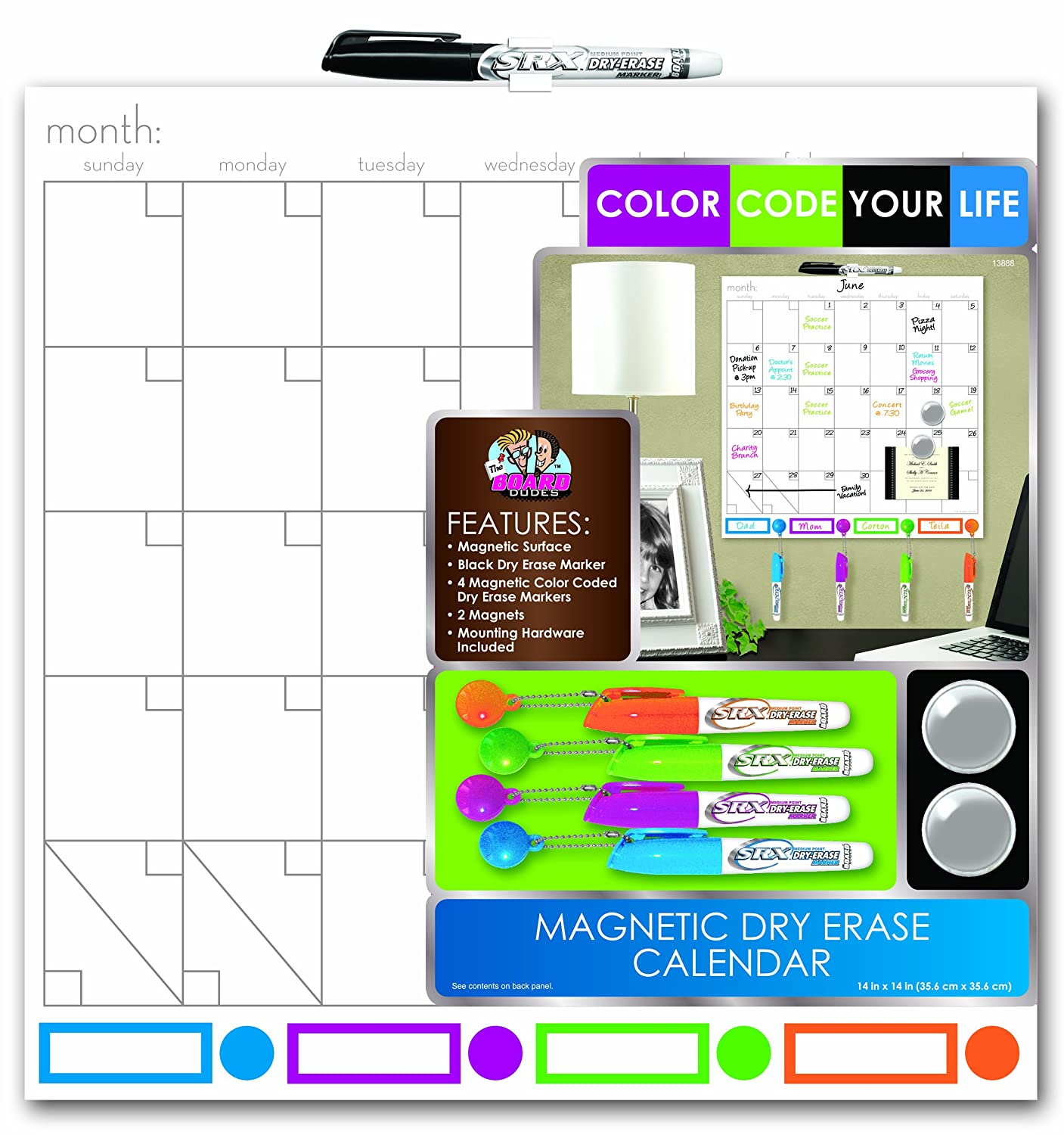 """board dudes 14"""" x 14"""" color coded magnetic dry erase"""