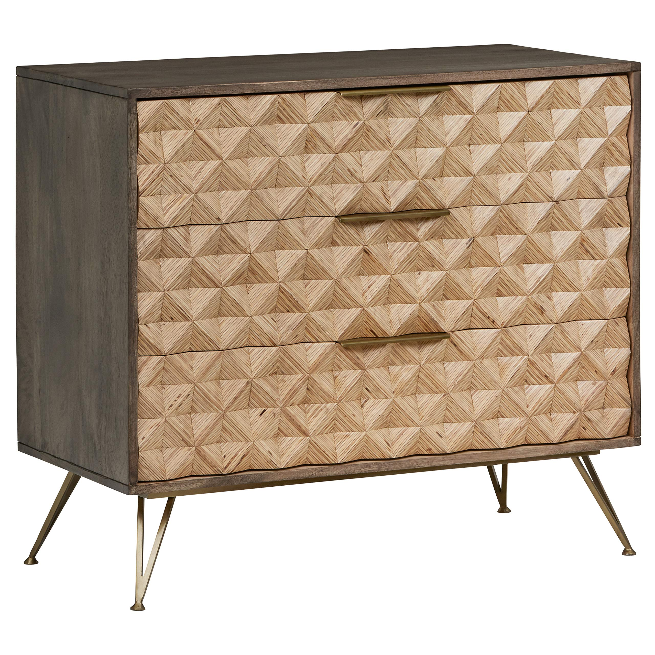 Rivet Modern Chest of Drawers with Diamond Pattern 17.7''W, Natural