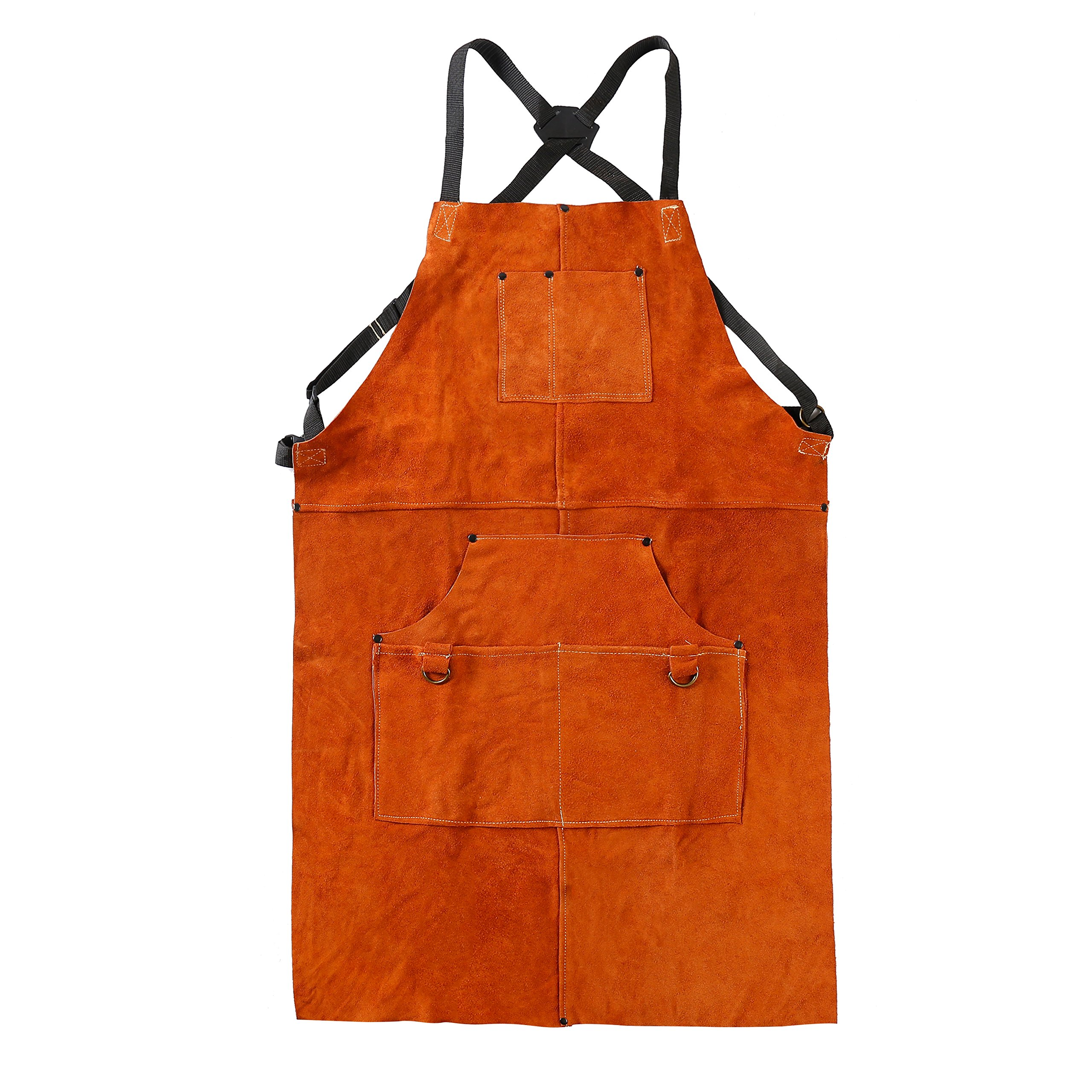 QeeLink Leather Work Apron - Heat & Flame-Resistant Heavy Duty Shop Apron with 6 Tool Pockets, 24'' x 36'', Adjustable up to XXL for Men & Women (Brown)