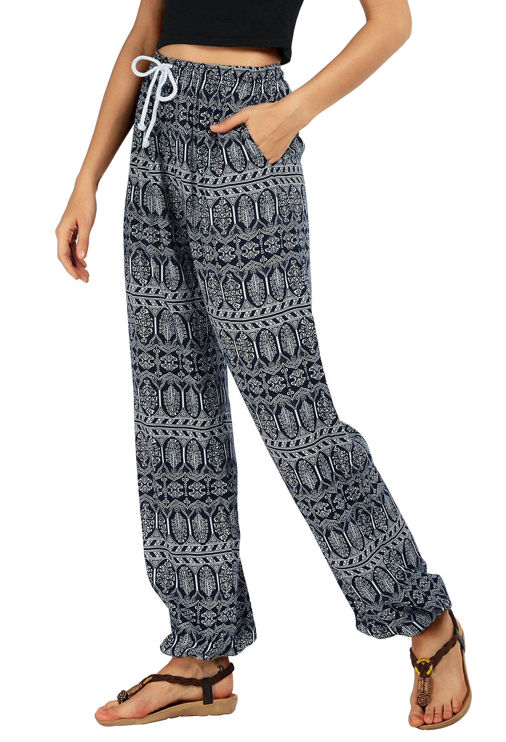 Urban CoCo Women's Floral Print Boho Yoga Pants Harem Pants Jogger Pants (L, 2)