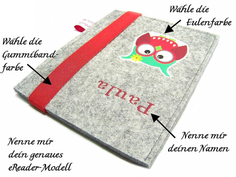 eBook Reader eReader Hülle Eulalia Wollfilz Filz inkl. Namensstickerei, Maßanfertigung Maßanfertigung