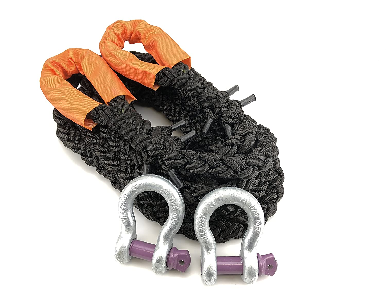 With 2 x 4.75 Tonne Shackles K.E.R.R RopeServices UK 24mm 4x4 8 Strand Black Nylon Kinetic Recovery Tow Rope x 5 Metres
