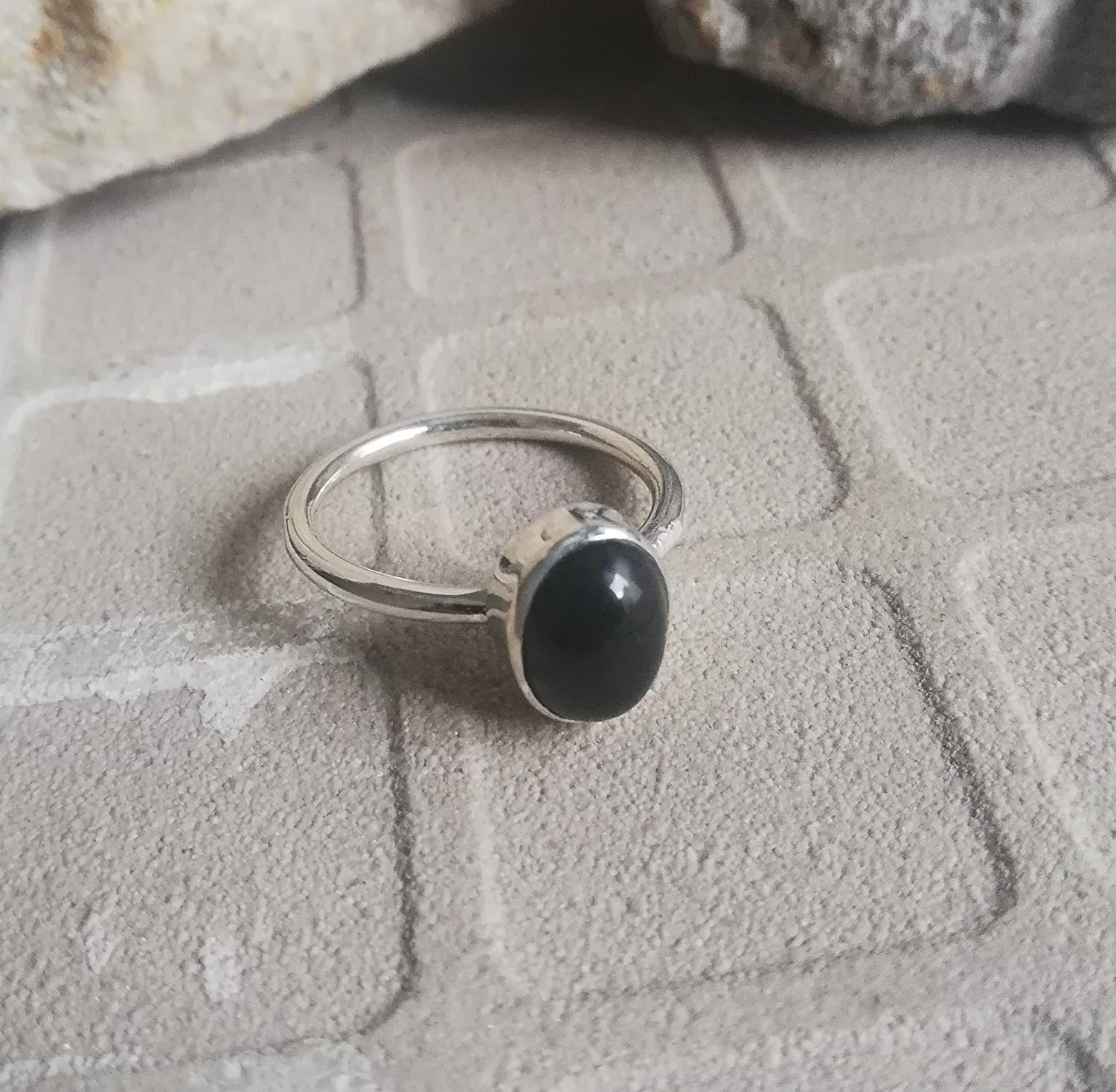 Black Onyx Ring, 925 Sterling Silver, Minimalist Ring, Stacking Ring, Solitaire Ring, Trending Ring, Excellent Ring, Statement Ring, Gypsy Ring, Religious Ring, Bezel Ring, Great Gift,US All Size Ring