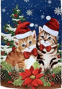 "Christmas Kittens Winter Garden Flag - 12"" x 18"", Double Sided, Festive Cats, Poinsettia, Mistletoe, Christmas Decoration, Home Decor, Boxing Day, Classroom, Daycare, Christmas Tree Lot, Fundraiser"