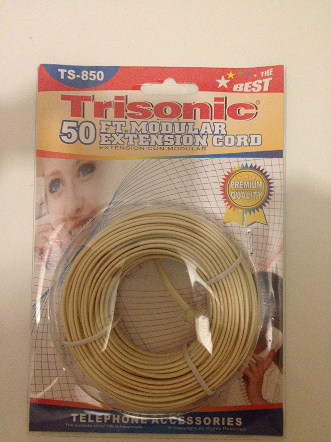 Trisonic Trisonoc50ftcbl Telephone Phone Extension Cord Cable Line Wiring Wire 50 White