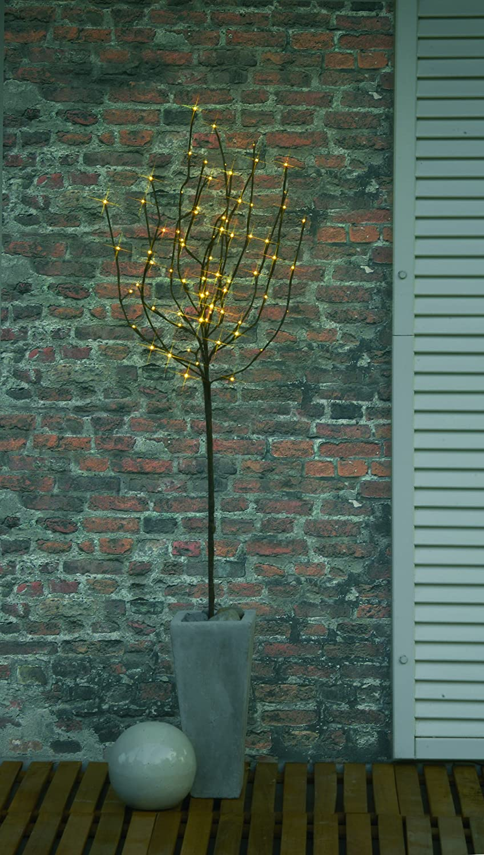 Best Season LED-Tobby Tree weiß 110 cm / 110 x 40 cm / 70 cm warm weiß LED mit Trafo / outdoor 860-18 Braun