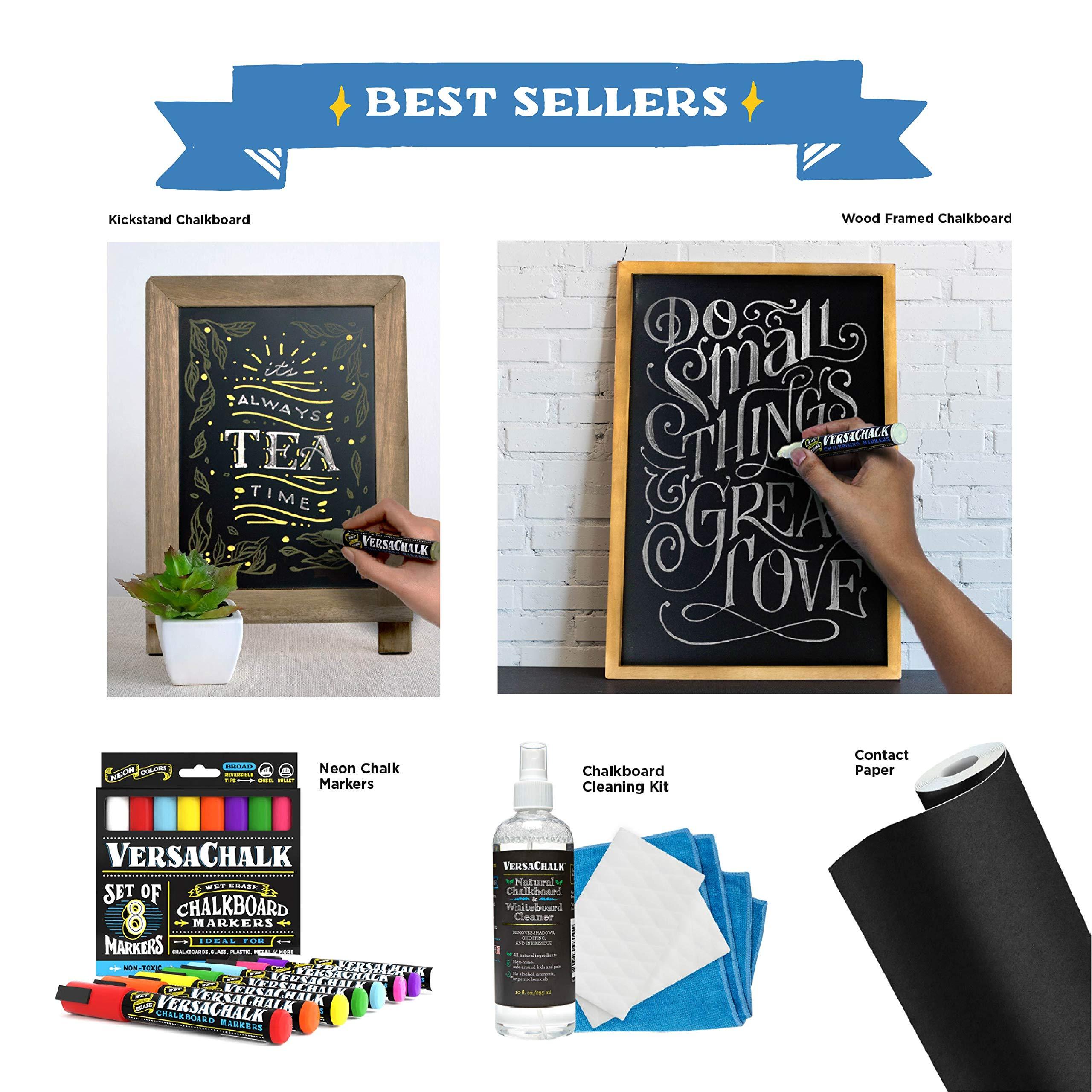 Metallic Liquid Chalk Marker Pens by VersaChalk (6mm Bold Chisel + Bullet Tip) – 8 Metallic Colors | Dust Free, Water-Based, Non-Toxic by VersaChalk (Image #7)