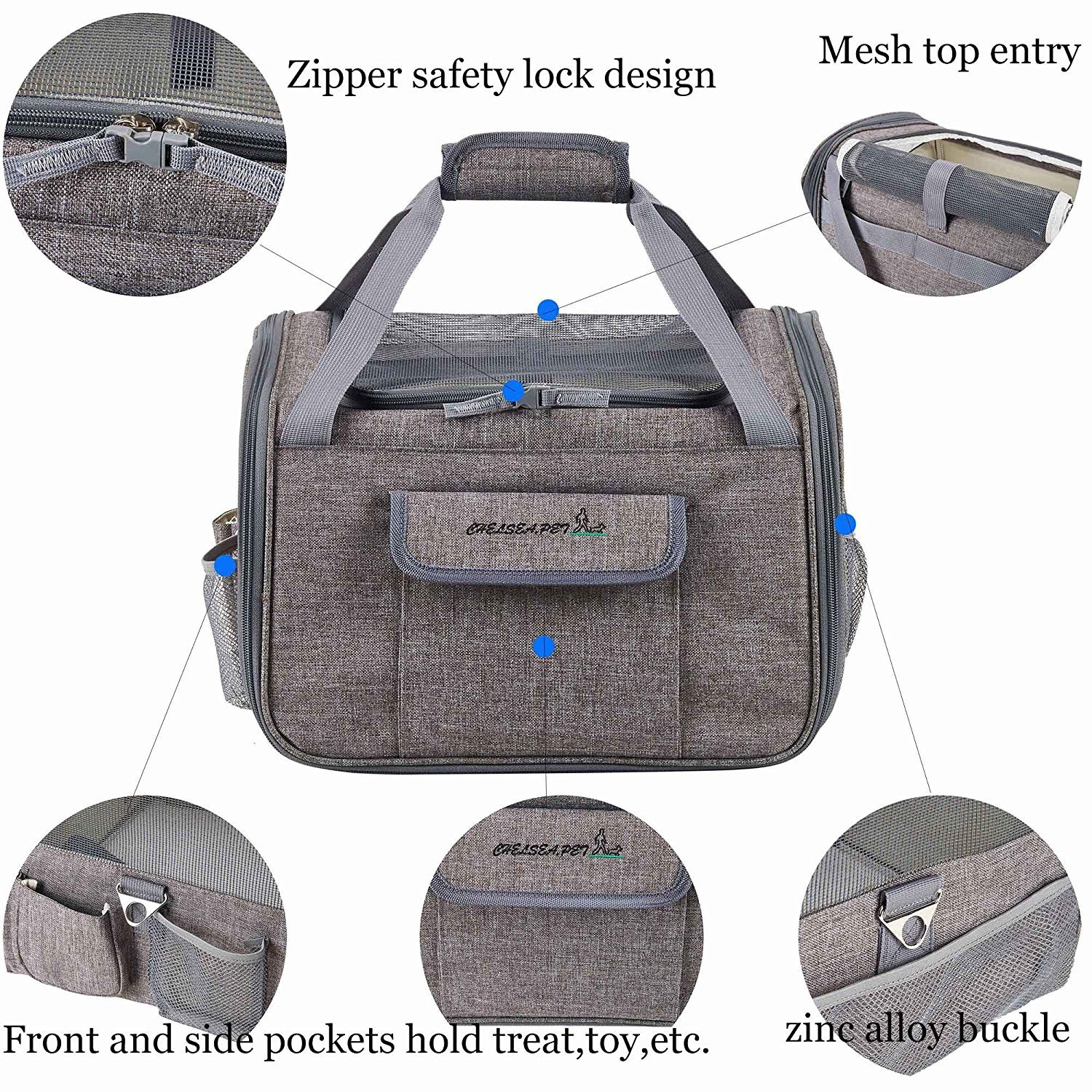 Decoroom Pet Car Seat Carrier Dog Cat Lookout Booster Seat Soft-Sided Foldable Puppy Travel Bag Light Gray by Decoroom (Image #5)
