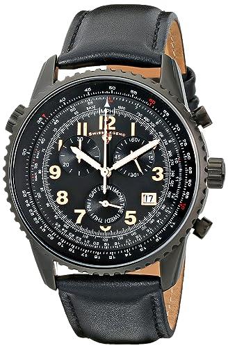 Swiss Legend Skyline Reloj cuarzo suizo 43mm cronógrafo correa de cuero genuino 30721-BB-01-21818P-02: Amazon.es: Relojes