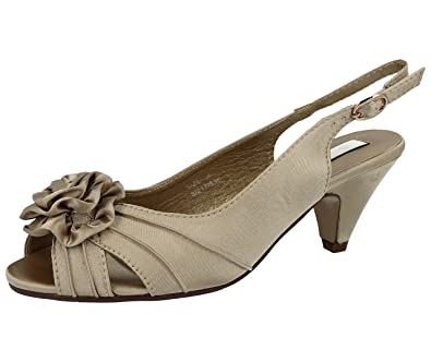 80b730ca388 Ladies Occasions Satin Rosetta Flower Kitten Heel Evening Party Wedding  Sandal Shoe Size 3-8
