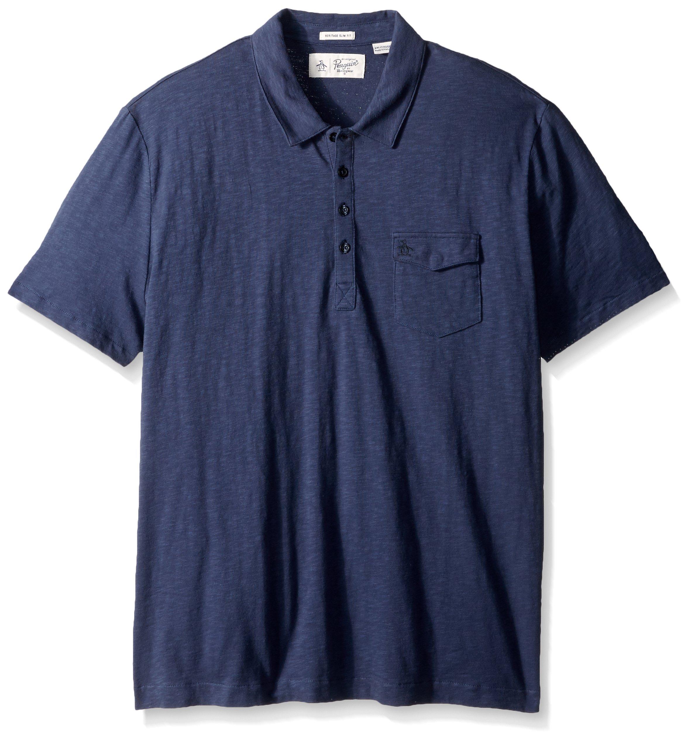 Original Penguin Men's Short Sleeve Denim Effect Jack 2.0 Shirt, Vintage Indigo, XX-Large