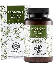 NATURE LOVE® Probiona Kulturen Komplex - 18 Bakterienstämme + Bio Inulin. 180 magensaftresistente Kapseln. Mit u.a. Lactobacillus, Bifidobacterium. Vegan, hochdosiert, hergestellt in Deutschland