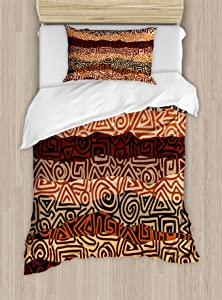 Ambesonne Vintage Duvet Cover Set Twin Size, Strikes Pattern in Brown Colors Curved Spiral Lines, Decorative 2 Piece Bedding Set with 1 Pillow Sham, Beige Black