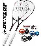 Potenza 2 x racchetta da squash DUNLOP Smash con 3 x palline da squash (blu rosso giallo)! È Squashset perfetto per principianti e giocatori di tempo