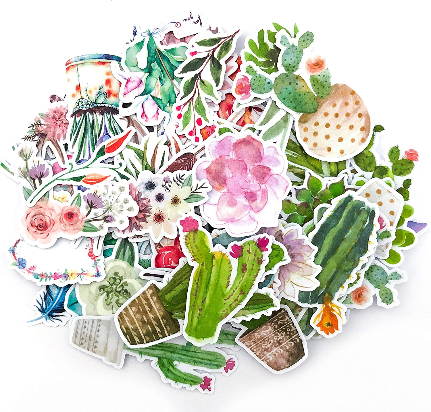 Navy Peony Watercolor Flower,Cactus and Succulent Plants Sticker Pack| Mini Waterproof Decals for Laptops, Water Bottles and Phones| Artsy Floral Stickers for Your Scrapbooking and Bullet Journaling