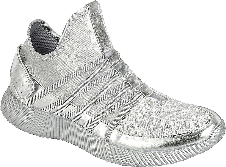 Lizzy Sparkle Metallic Glitter Fashion Slip On Sneaker Tennis Shoe for Women Ladies Girls Assorted Colors
