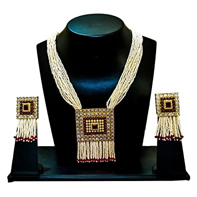 da0e817b5b8ace Buy AAKARSHI American Diamond CZ AD Indian Jewellery Gold Plated Party  Necklace Set With Matching Earrings Online at Low Prices in India | Amazon  Jewellery ...
