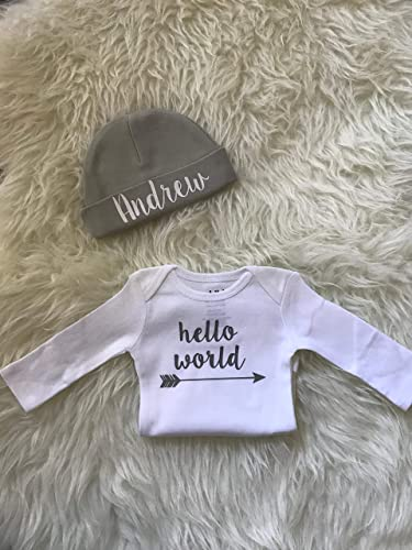 5f244c42ebb Amazon.com  Newborn boy coming home outfit personalized newborn baby gift  custom name beanie white and grey newborn outfit hello world outfit boy   Handmade