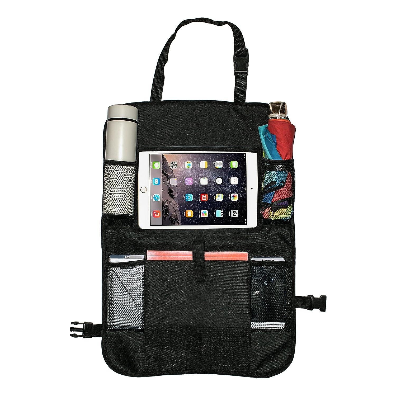 TimberRain Auto Rücksitz Organizer, Auto Rückenlehnenschutz mit iPad Tablet Halter, Rückenlehnen Tasche für Kinder, wasserdicht und Dauerhaft Kick-Matten