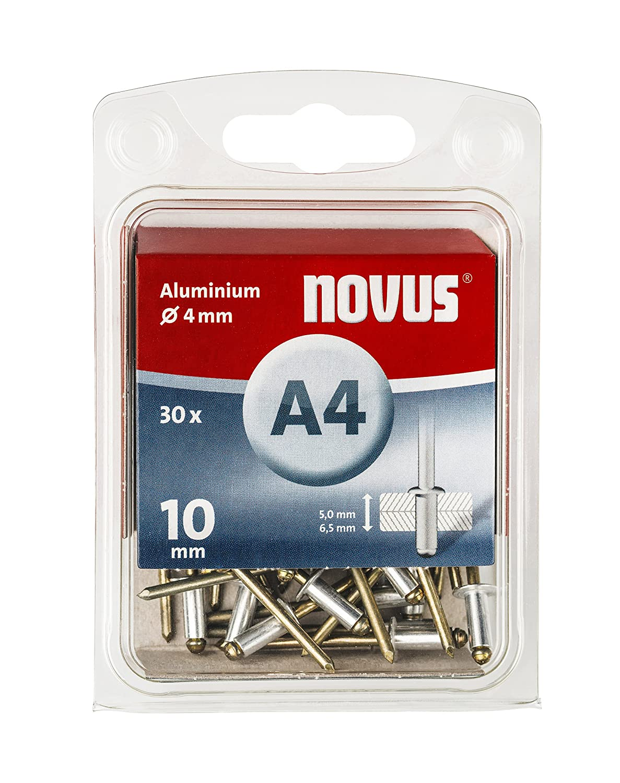 Novus Aluminium-Blindnieten 6 mm, 70 Nieten, Ø 4 mm, 1.5-3.0 mm Klemmlänge, für Nichteisen Metall, Kunststoff und Leder 045-0031