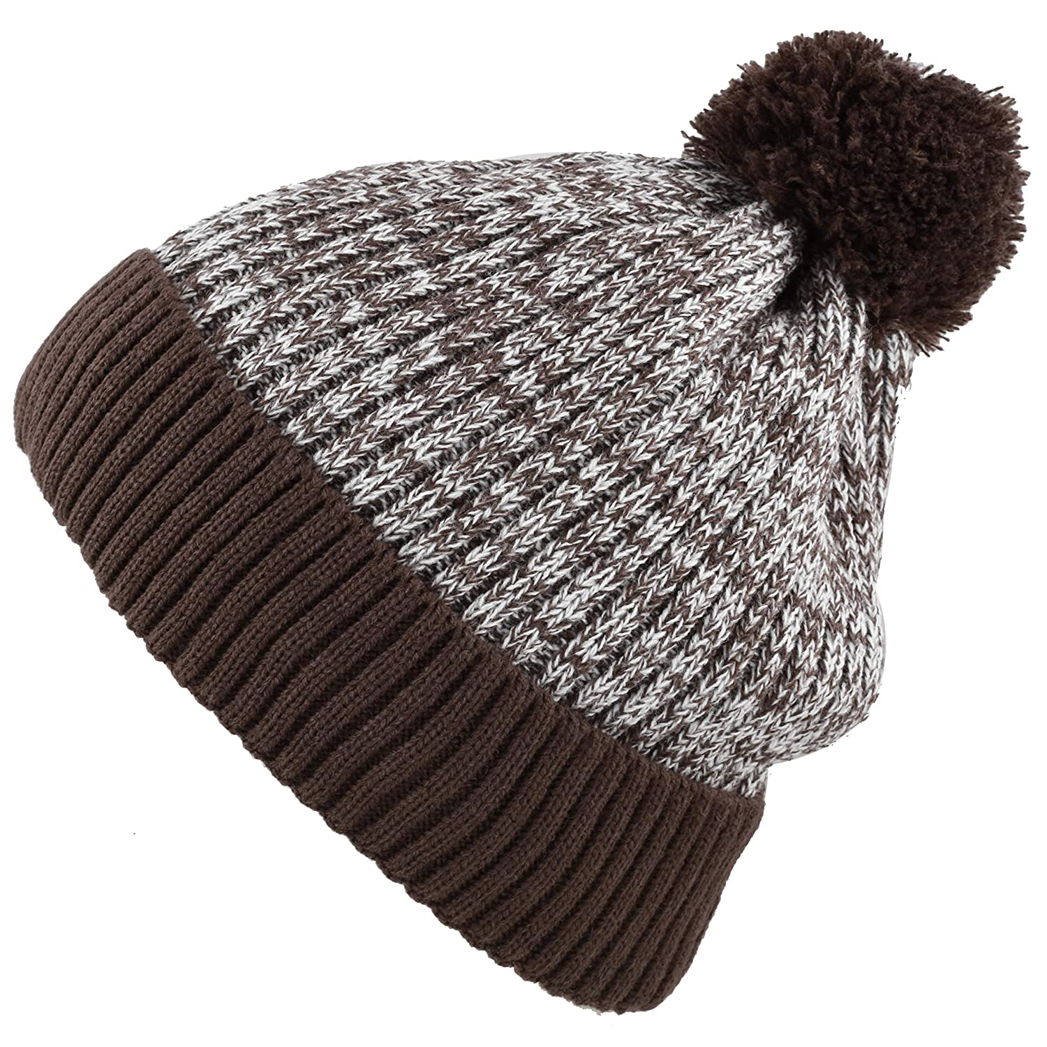 Brown With Pom THE HAT DEPOT Exclusive Ribbed Knit Beanie Warm Fuzzy Thick Fleece Lined Hat Winter Skull Cap Extra Warmth