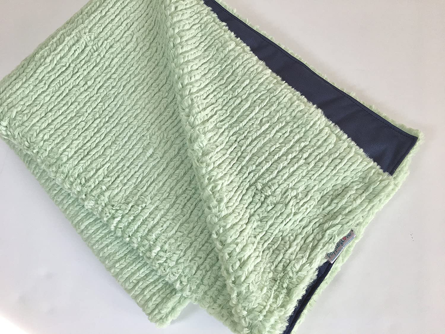 Waterproof Pet Blanket- Super Thick and Soft Chenille Minky Mint Green and Navy