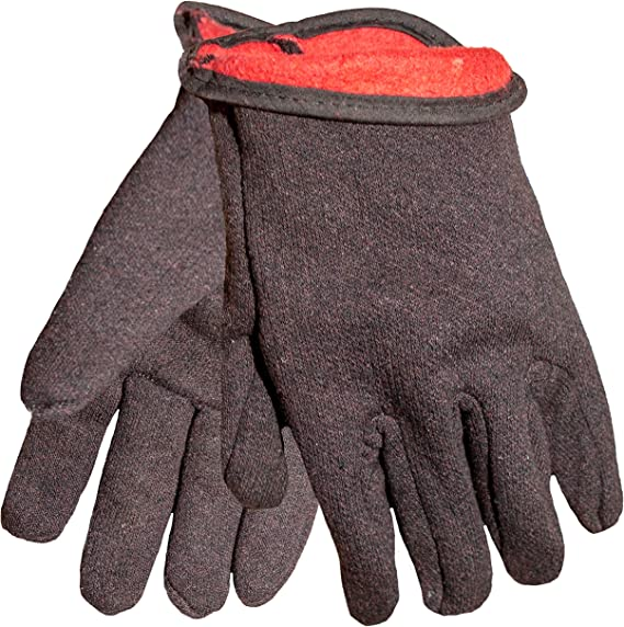 6 Pairs Brown Jersey Gloves with Red Fleece Lining  SIZE MEN LARGE