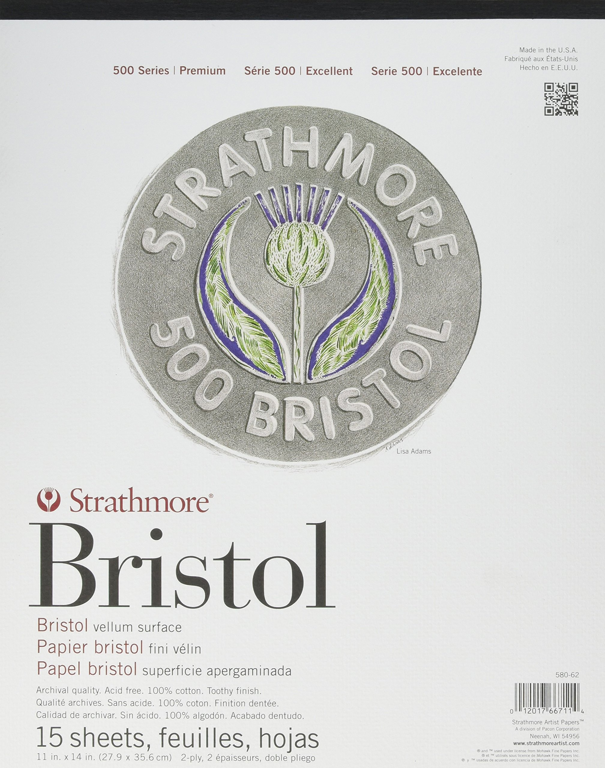 Strathmore ((580-62 500 Series Bristol, 2-Ply Vellum Surface, 11''x14'', 15 Sheets by Strathmore